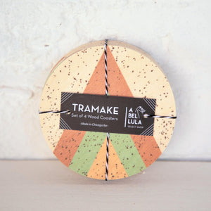 TRAMAKE x A BELLULA - SET 4 DESSOUS DE VERRE BOIS EDITION LIMITEE / LTD EDITION 4 WOODEN COASTERS