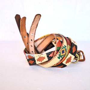 Ceinture argentine / polo femme multicolore et cuir camel - Women's multicolor and camel leather polo / argentinian belt