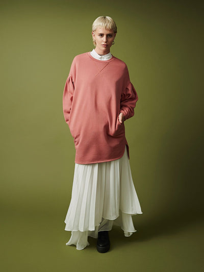 Pleat Sleeve Sweater Dress