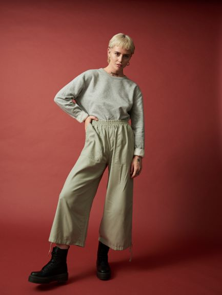 sage twill harem, cotton harem pants, drawstring harem pants