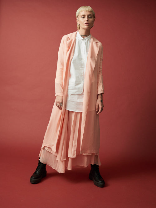 long sheer duster, peach long duster, sheer coat, sheer layering duster