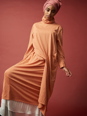 cotton jersey long dress, drape dress, jersey drape dress, jersey gathered dress, jersey tie waist dress
