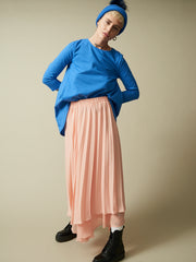 pleated layered skirt, long maxi sheer skirt, peach skirt