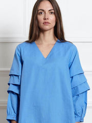 Blue modest top, swing top, long sleeve, balloon sleeve top