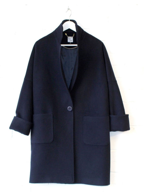 Navy Wool and Cashmere Coat