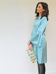Bell Sleeve Shirt Dress Mint