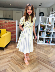 Lemon Stripe Shirt Dress