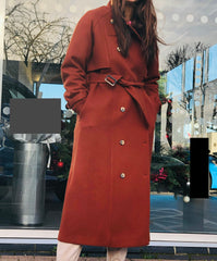 Long belted winter coat