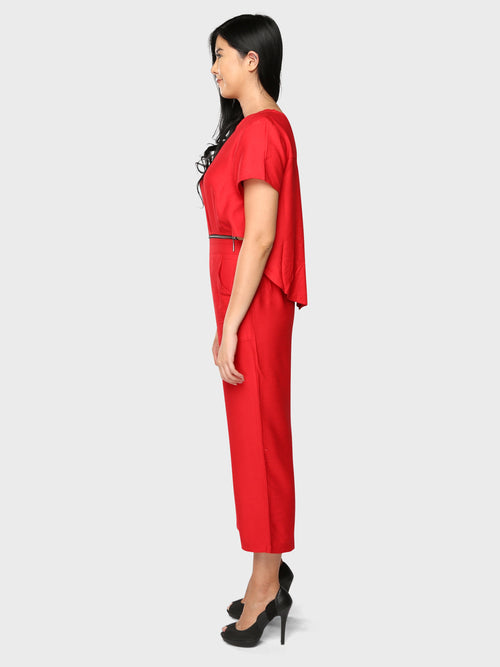 2 in 1 Zip Jumpsuit Red