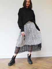 Polka Dot Lace Maxi Skirt