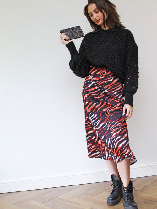 Tiger Print Belted Skirt
