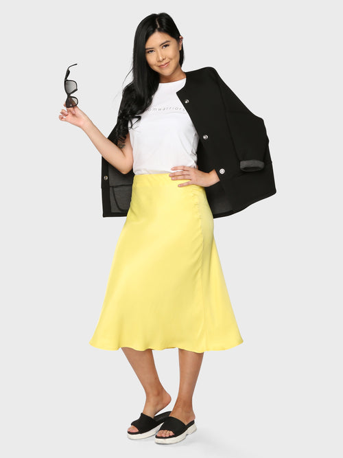 Slinky Midi Skirt Yellow