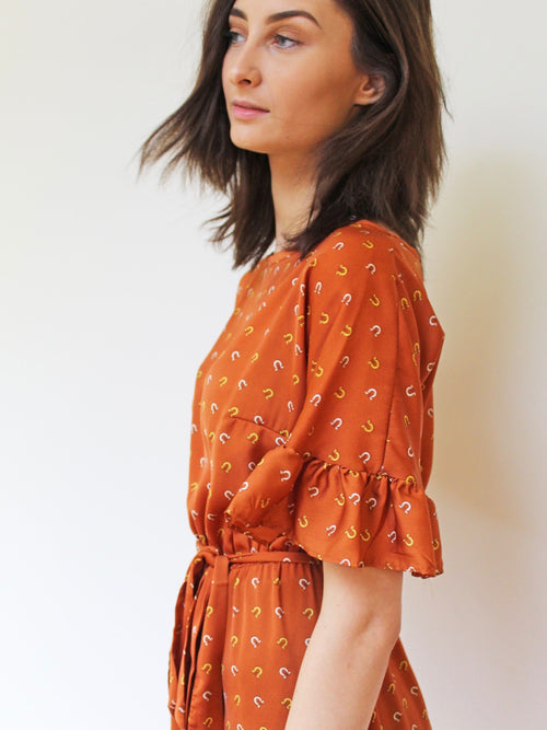 Printed Frill Sleeve Dress