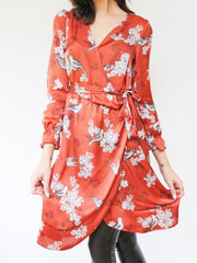 Bird Print Wrap Dress