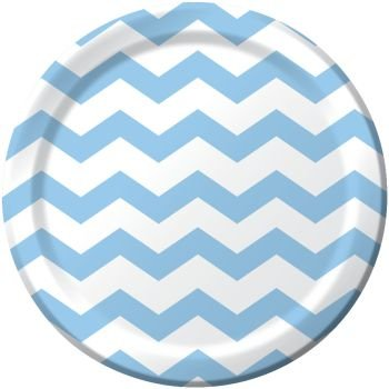 Light Blue Chevron 9Lunch/Dinner Plates (8 ct)