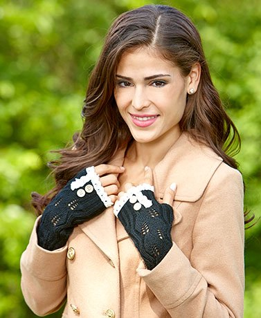 Button & Lace Trim Fingerless Gloves (Black)