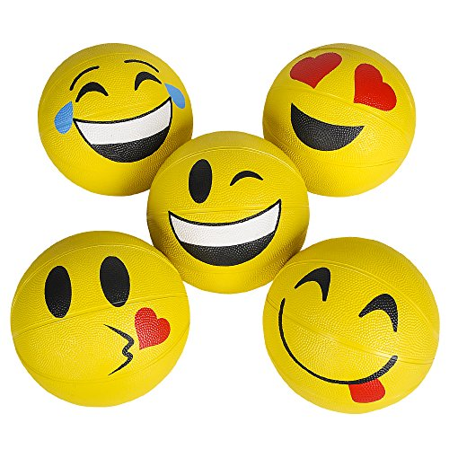 "7"" Emoticon Yellow Rubber Basketball Assorted (1-Piece) by M & M Products Online"