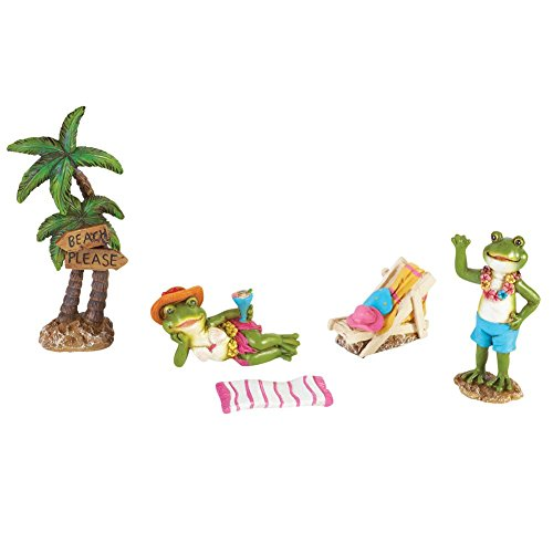 Miniature Frog Scene Garden Decor - 5 Pc