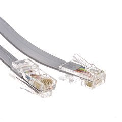 Dealsjungle Telephone Cord (Data), RJ45, Silver Satin, Straight, 7 foot