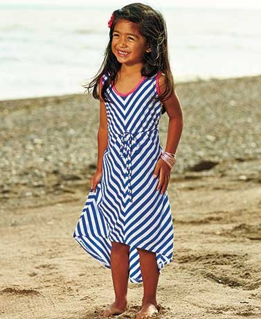 Girls' Chevron High-Low Tank Dresses Blue/White 4