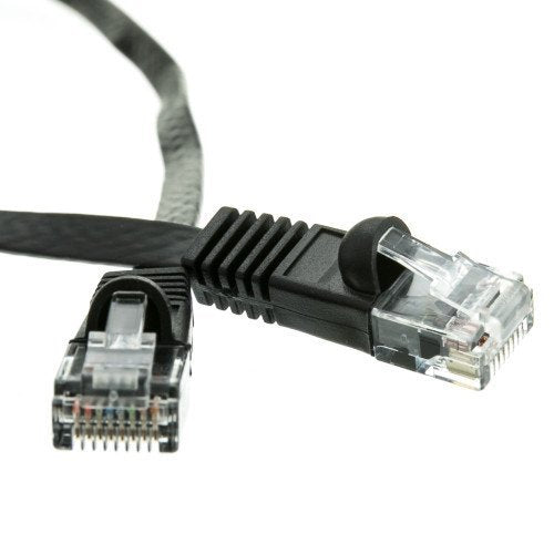 CableWholesale's Cat6 Black Flat Ethernet Patch Cable, 32 AWG, 1 foot