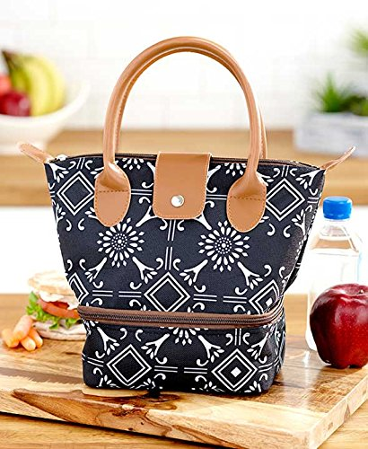 Dual-Compartment Insulated Lunch Totes. With 2 Separate Insulated Sections. Resembles a Purse. (Medallion)