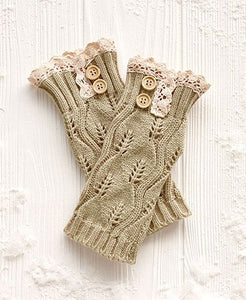 Button & Lace Trim Fingerless Gloves (Natural)