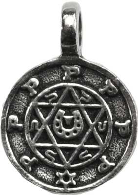Solomon Seal Star of David Symbol of Luck Amulet Necklace in Pewter