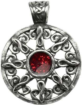 Celtic Sun with Red Heart 8 Sabbat Positions Amulet Necklace