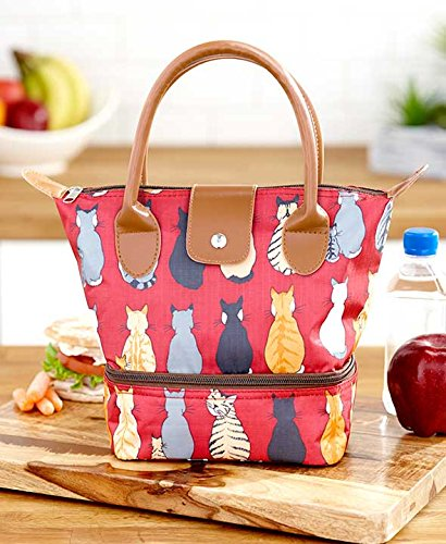 Dual-Compartment Insulated Lunch Totes. With 2 Separate Insulated Sections. Resembles a Purse. (Cats)