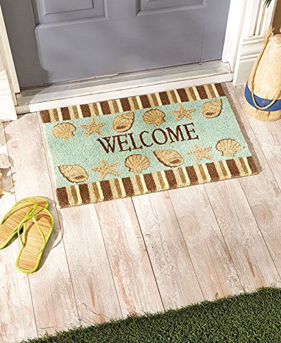 (USA Warehouse) Coastal Seashells Coir Welcome Mat Doormat Front Entry Door Rug Beach Themed -/PT# HF983-1754437197