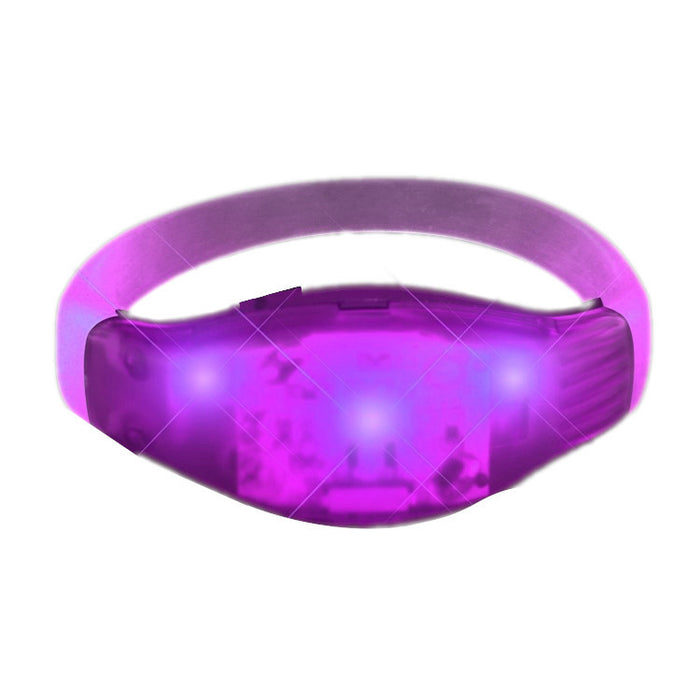 Sound Reactive Purple LED Party Bracelet Wristbands For Concerts