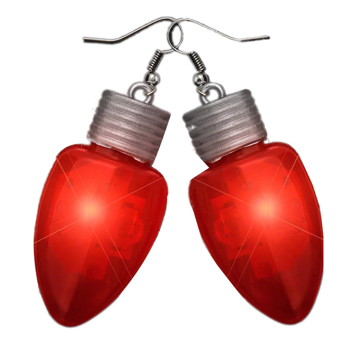 Flashing Christmas Bulb Earrings Red
