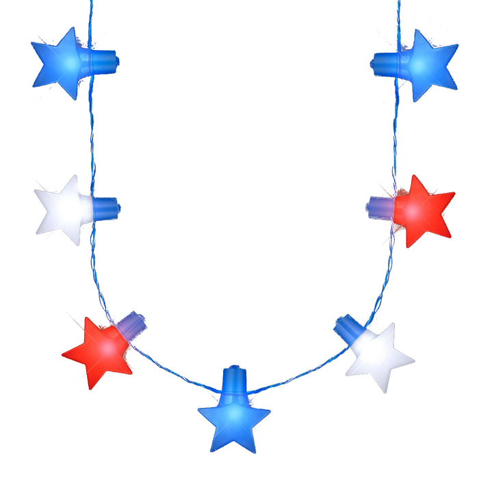 Jumbo Stars Red White And Blue LED String Lights Necklace For 4th Of July