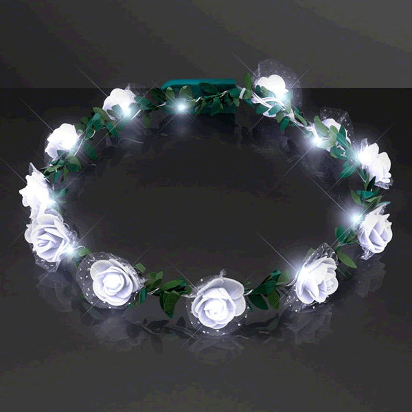 Light Up White Rose Flower Princess Halo Crown Headband