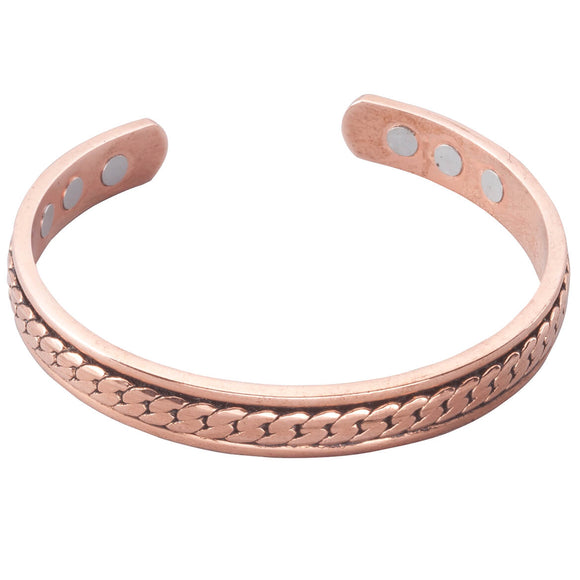 Copper Magnetic Bracelet with Antique Braid
