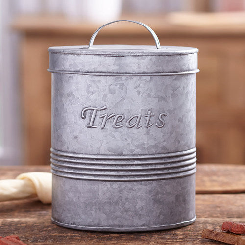 Retro Metal Pet Treat Canisters-Galvanized