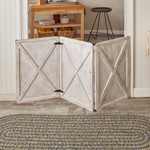 Wood Barn Door Pet Gates-Antique White