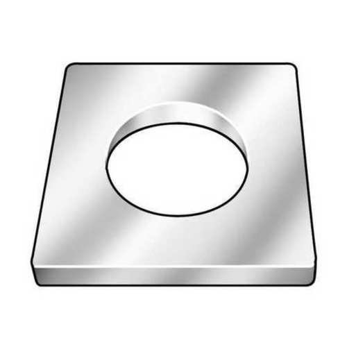 "Square Washer, 1/4"" Bolt, Steel, 2"" OD"