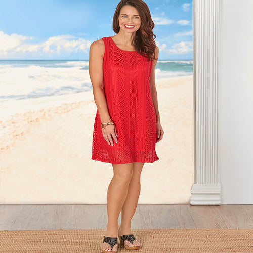 Fully Lined Lace Dresses-Red XL (18/20)