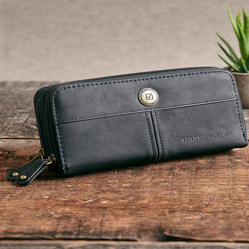 Stone Mountain Double Zip-Around Leather Organizer Wallets-Black