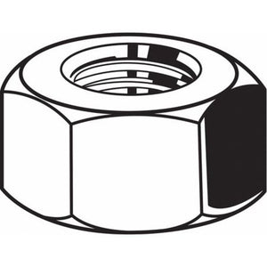 "9/16""-12 Grade 2 Plain Finish Steel Hex Nuts, 25 pk"
