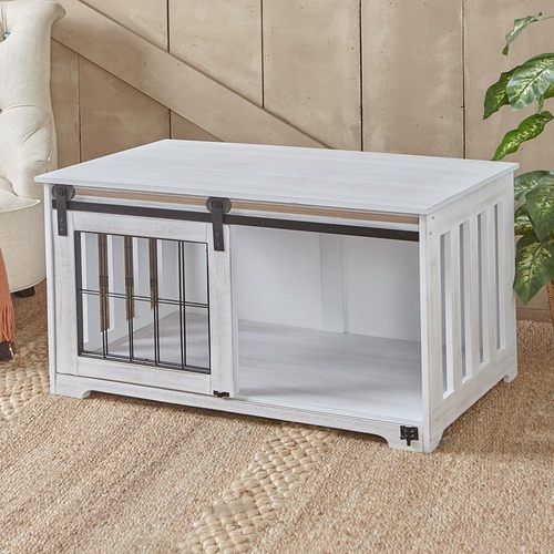 Barn Door Pet Crates-Rustic White