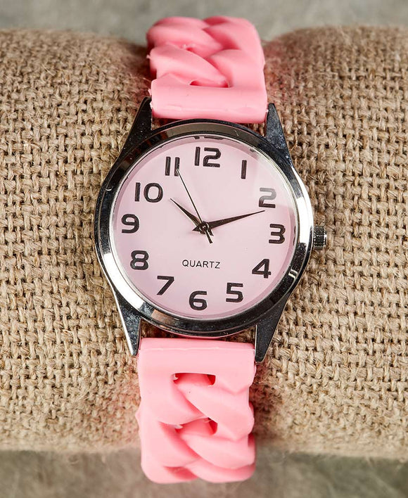 Silicone S-T-R-E-T-C-H Watches-Pink