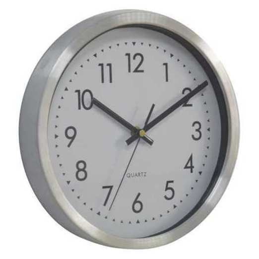 Quartz Clock, 10 in. H, Silver