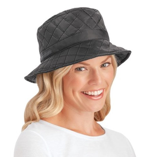 Quilted Water Resistant Rain Hat with Wide Brim-Black
