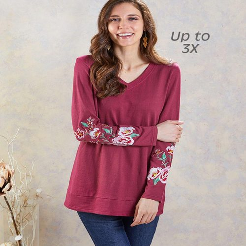 Extended Size Embroidered Tunics-Burgundy XL (18/20)