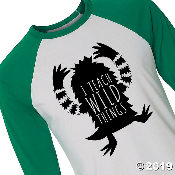 Adult's Three-Quarter Sleeve Baseball I Teach Wild Things T-Shirt by Bella + Canvas