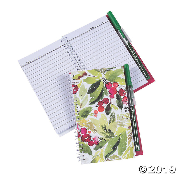 Christmas Spiral Notebooks with Pens