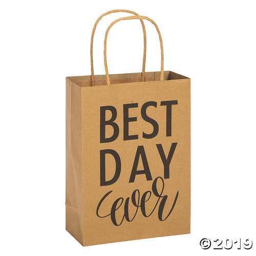 Medium Best Day Ever Kraft Paper Gift Bags